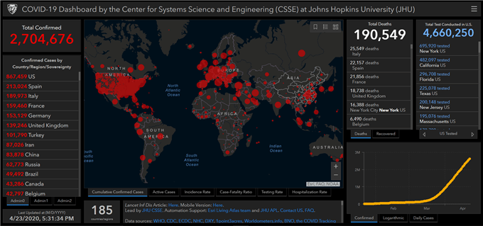 Johns Hopkins Covid-19 map